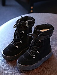 Boy's Boots Fall Winter Comfort Leatherette Casual Flat Heel Black