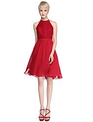 Lanting Bride® Knee-length Chiffon / Lace Mini Me Bridesmaid Dress - A-line Jewel Plus Size / Petite with Lace / Sash / Ribbon