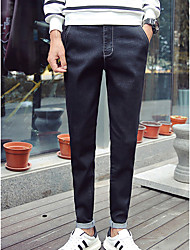 Men's Slim Jeans Pants,Casual/Daily Simple Solid Mid Rise Zipper Cotton Stretchy All Seasons