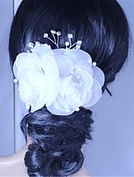 Women's Rhinestone Imitation Pearl Chiffon Headpiece-Wedding Special Occasion Hair Pin 1 Piece