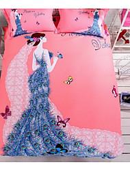 Оригинальный рисунок Пододеяльник наборы 4 предмета Хлопок 3D Активный краситель Хлопок Полный1 пододеяльник 2 декоративных чехла 1
