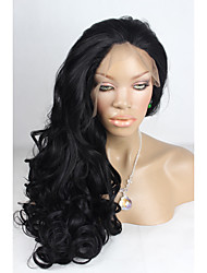 Celebrity Top Fashion Long Body Wave Style Jet Black 1B#Color Handmade High Quality Cheap Synthetic Lace Front Wig