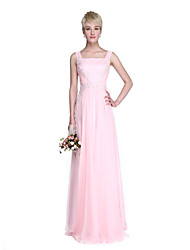 2017 Lanting Bride® Floor-length Chiffon Elegant Bridesmaid Dress - Sheath / Column Straps with Appliques / Beading / Side Draping