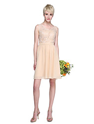 Lanting Bride® Knee-length Chiffon / Lace Mini Me Bridesmaid Dress - A-line V-neck Plus Size / Petite with Lace / Sash / Ribbon