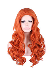 Heat Resistant Long Length Orange Wave Volume Mermaid Cosplay Fashion Scene Girl Party Wig New Color Syntheitc Full Hair