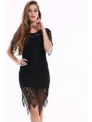 Women's Casual/Daily Sexy Lace Dress,Solid Round Neck Midi Short Sleeve Black Silk Summer Mid Rise Micro-elastic Thin