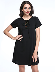 Women's Going out Sexy Sheath Dress,Solid Asymmetrical Knee-length Short Sleeve Black Others Summer