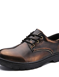 Men's Oxfords Spring Fall Comfort Pigskin Casual Low Heel Lace-up Black Silver Coffee