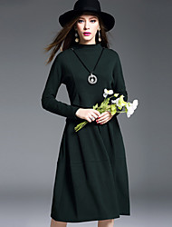 Feminino balanço / Tricô Vestido, Casual Simples Sólido Decote Redondo Altura dos Joelhos Manga Longa Verde Poliéster Inverno Cintura Alta