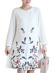 Maternity Casual/Daily Vintage / Simple Embroidered Round Neck Loose Dress