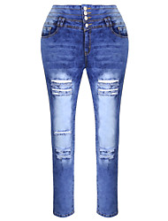 Burvogue Women's Blue Denim Jeans Skinny Distressed Pants