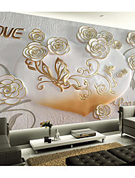 JAMMORY Art DecoWallpaper For Home Wall Covering Canvas Adhesive required Mural Embossed White Flowers XL XXL XXXL