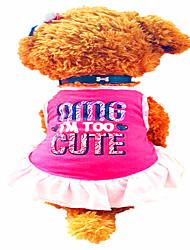 Cães Vestidos Roupas para Cães Verão Carta e Número Fofo Rosa