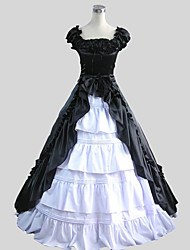 One-Piece/Dress Gothic Lolita Victorian Cosplay Lolita Dress Solid Short Sleeve Ankle-length Skirt Dress For Charmeuse