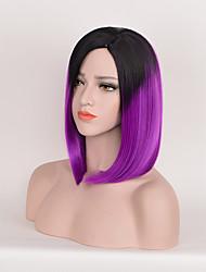 mode noir directement à la couleur pourpre perruques synthétiques perruques cosplay