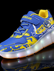 Girl's Athletic Shoes Winter Comfort PU Athletic Flat Heel Others LED Pink Gray Royal Blue