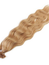 Neitsi 20'' 50g/lot 1g/s Natural Wave Keratin Fusion U Tip Human Hair Extensions Curly Pre bonded Hair 27#