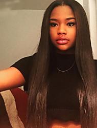 cabelo virgem cheia do laço perucas de cabelo humano da Malásia para as mulheres negras cor natural 120% densidade total perucas reta