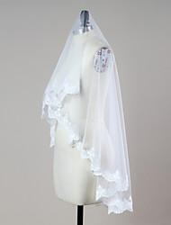 Véus de Noiva Uma Camada Véu Ruge Véu Ponta dos Dedos Borda com aplicação de Renda Borda Recortada Tule
