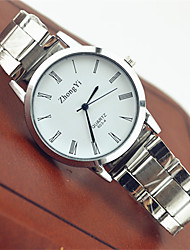 Couple's Fashion Watch / Wrist watch Quartz Stainless Steel Band Casual White Brand