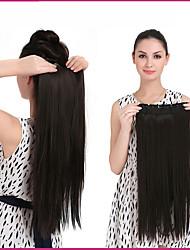 """24 """"clipe de 140g 1pc em longas extensões de cabelo sintético em linha reta de calor pedaços de cabelo fibra resistente multicolor"""