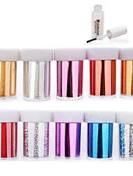 10pcs Nail Art Transfer Foil Polish Sticker Paper with 1pcs Nail Foil Adhesive Glue (#31-#40)