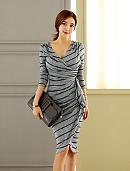 Women's Casual/Daily Sexy Sheath Dress,Striped V Neck Knee-length Long Sleeve Gray Polyester Fall Mid Rise Stretchy Medium