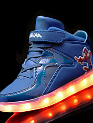 Boy's Athletic Shoes Winter Light Up Shoes Comfort PU Athletic Flat Heel Lace-up LED Black Blue Red White