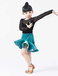 Performance Outfits Children's Performance Tulle / Velvet Ruffles / Splicing 2 Pieces Long Sleeve Natural Skirt / Leotard