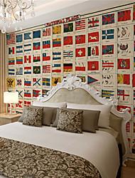 JAMMORY Art Deco Wallpaper Retro Wall CoveringCanvas Large Mural Countries FlagsXL XXL XXXL