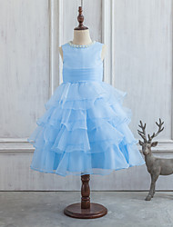 Princess Tea-length Flower Girl Dress - Satin / Tulle Sleeveless Scoop with Beading