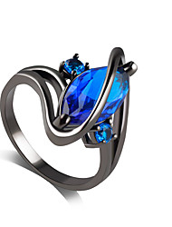 Ring Sapphire Imitation Sapphire Alloy Rhinestone Simulated Diamond Purple Blue Jewelry Wedding Party 1pc