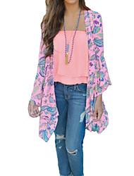 Damen Druck Einfach Lässig/Alltäglich Bluse,V-Ausschnitt Langarm Rosa Polyester