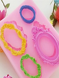 Baking Mold Mirror Frames Shaped Fondant Silicone Mold Color Random 9.4Cm*7.3Cm*1Cm