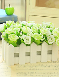 "6.3""L 6.3""H Beautiful Multicolor Golden Roses in White Fence"