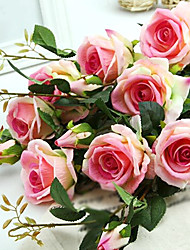 Three Heads Silk Roses Artificial Flowers Multicolor Optional 1pc/set