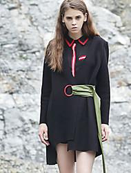 Damen Gestreift Einfach Lässig/Alltäglich Mantel,Winter Hemdkragen Langarm Schwarz Wolle Polyester
