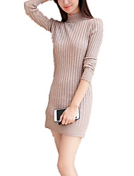Women's Stand Collar Simple Long Pullover Solid  Long Sleeve Bodycon Knitwear Sweater Dress