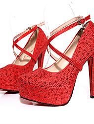 Homme-Mariage-Rouge / Blanc-Talon Aiguille-A Plateau-Chaussures à Talons-Tissu