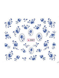 1sheet Chinese Style Blue and White Flower Water Transfer Nail Stickers