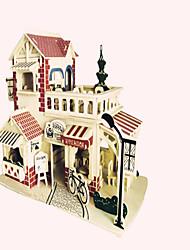 Puzzles Puzzles en bois Blocs de Construction Jouets DIY  Chasseur Bâtiment Célèbre Architecture Chinoise 1 Bois IvoireMaquette & Jeu de