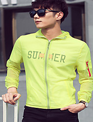 Men's Casual/Daily Simple Jackets,Solid Hooded Long Sleeve Summer / Fall Blue / White / Green / Yellow / Purple Rayon Medium