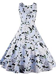 Balançoire Robe Femme Décontracté / Quotidien simple,Fleur Col Arrondi Au dessus du genou Sans Manches Bleu Coton Printemps Taille Normale