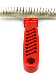 Dog Cleaning Comb Pet Grooming Supplies Portable Red Stainless Steel