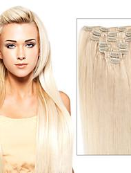 clip dans les extensions de cheveux peruvian droites 7/8 pcs remy clip dans des morceaux de cheveux humains clip tête pleine sur les