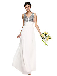 2017 Lanting Bride® Floor-length Chiffon / Sequined Sparkle & Shine Bridesmaid Dress - A-line V-neck with Bow(s)