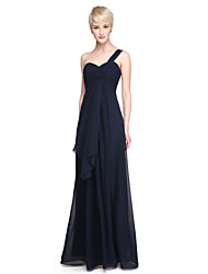 Sheath / Column One Shoulder Floor Length Chiffon Bridesmaid Dress with Criss Cross Ruffles by LAN TING BRIDE®