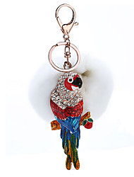 Key Chain Sphere / Bird Key Chain White Metal / Plush
