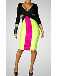 Women's Casual/Daily Sexy Bodycon Dress,Solid V Neck Midi ¾ Sleeve Yellow Polyester Spring Low Rise Micro-elastic Medium