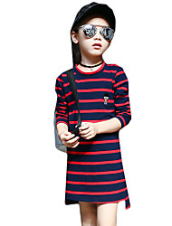 Girl's Casual/Daily Striped DressCotton / Spandex Spring / Fall Blue / Green / Red
